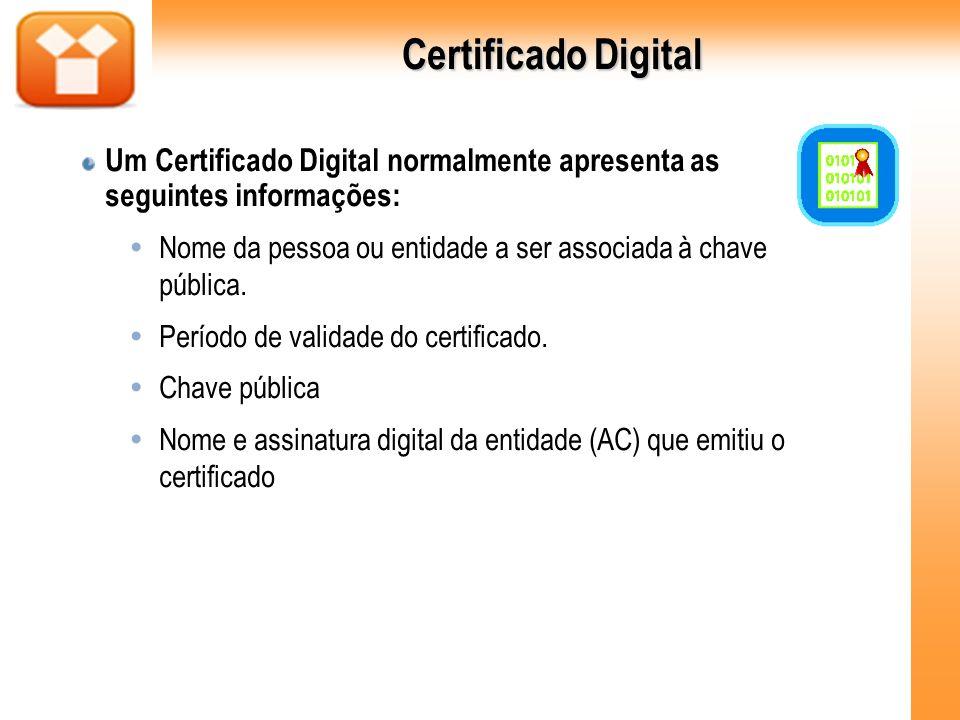 Certificado Digital Um Certificado Digital normalmente apresenta as seguintes informações: