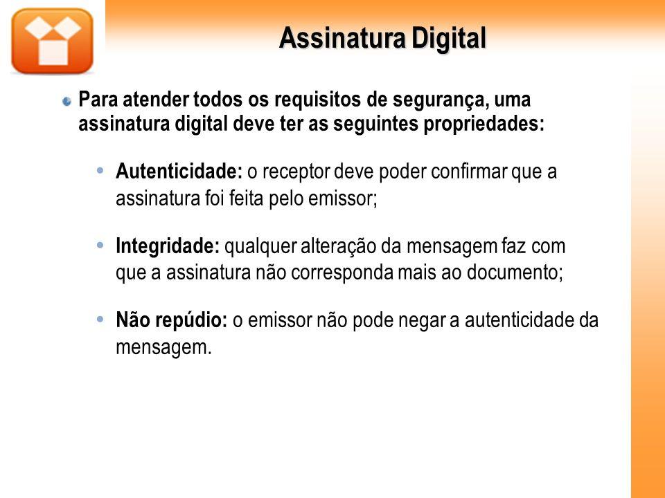 Assinatura Digital Para atender todos os requisitos de segurança, uma assinatura digital deve ter as seguintes propriedades: