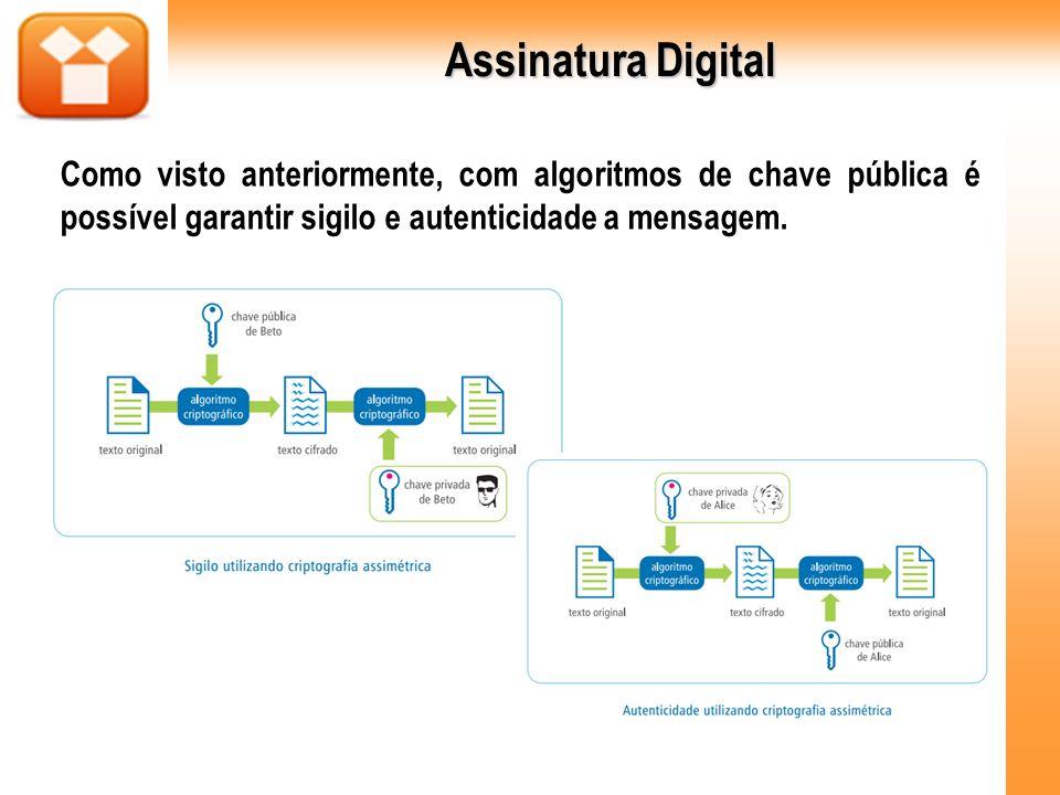 Assinatura Digital Como visto anteriormente, com algoritmos de chave pública é possível garantir sigilo e autenticidade a mensagem.