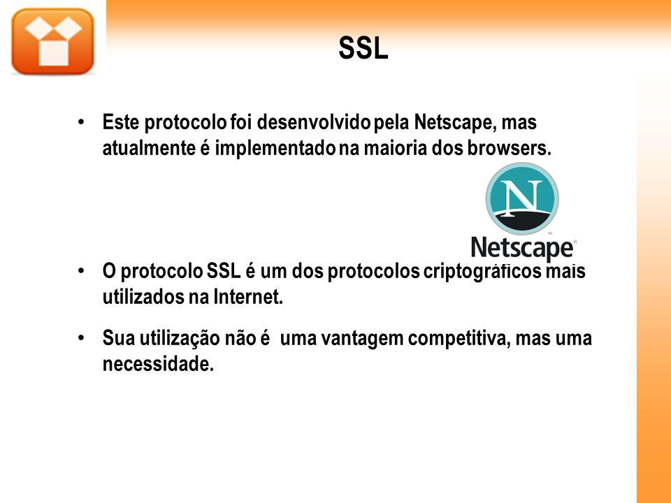 SSL Este protocolo foi desenvolvido pela Netscape, mas atualmente é implementado na maioria dos browsers.