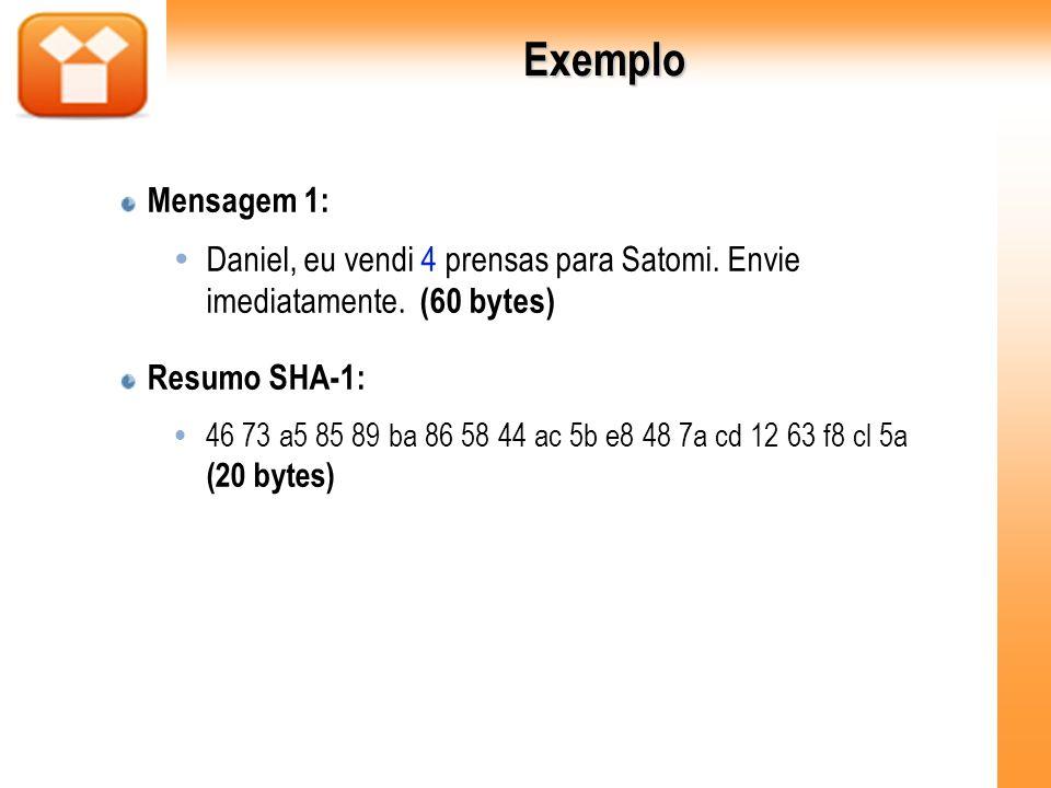 Exemplo Mensagem 1: Daniel, eu vendi 4 prensas para Satomi. Envie imediatamente. (60 bytes) Resumo SHA-1: