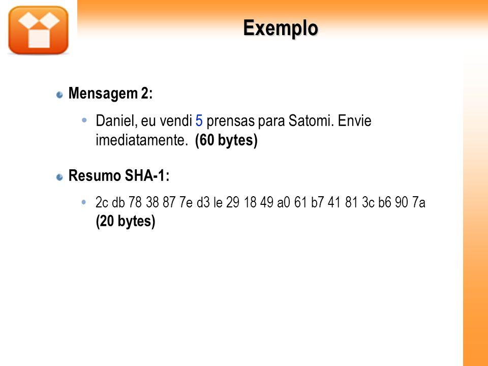 Exemplo Mensagem 2: Daniel, eu vendi 5 prensas para Satomi. Envie imediatamente. (60 bytes) Resumo SHA-1: