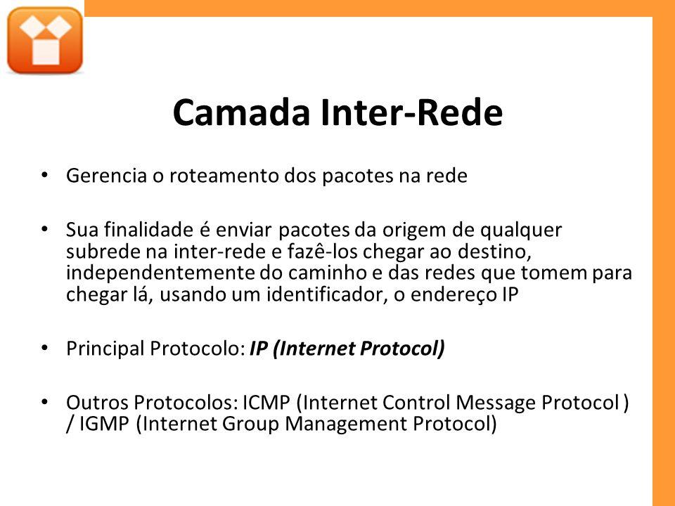Camada Inter-Rede Gerencia o roteamento dos pacotes na rede