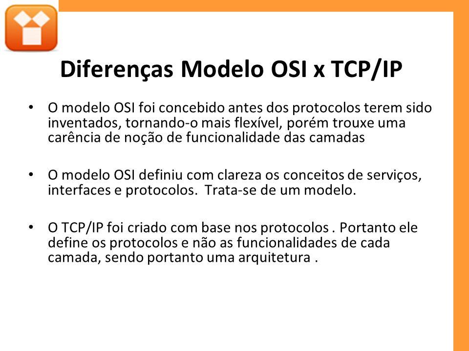 Diferenças Modelo OSI x TCP/IP
