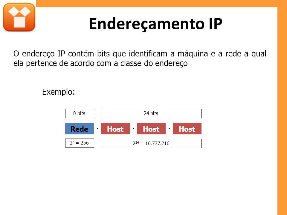 Endereçamento IP O endereço IP contém bits que identificam a máquina e a rede a qual ela pertence de acordo com a classe do endereço.