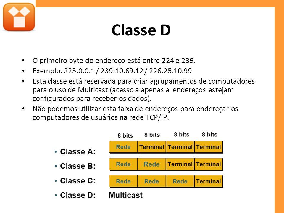 Classe D O primeiro byte do endereço está entre 224 e 239.