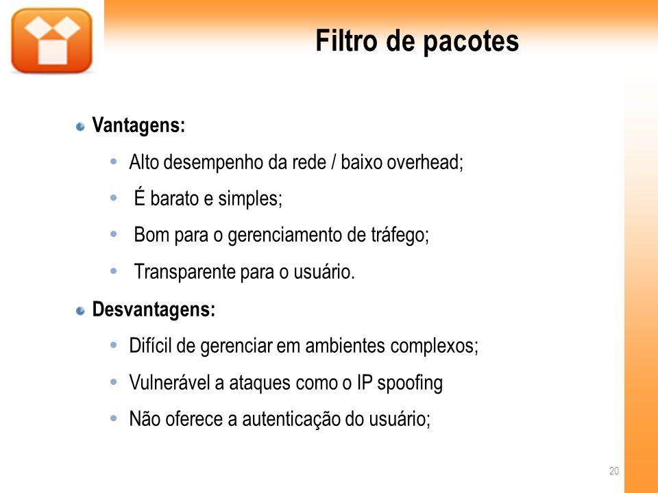 Filtro de pacotes Vantagens: Alto desempenho da rede / baixo overhead;