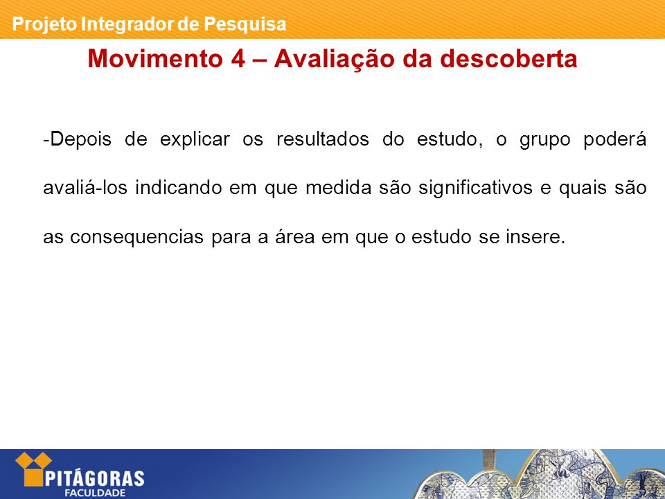 Movimento 4 – Avaliação da descoberta