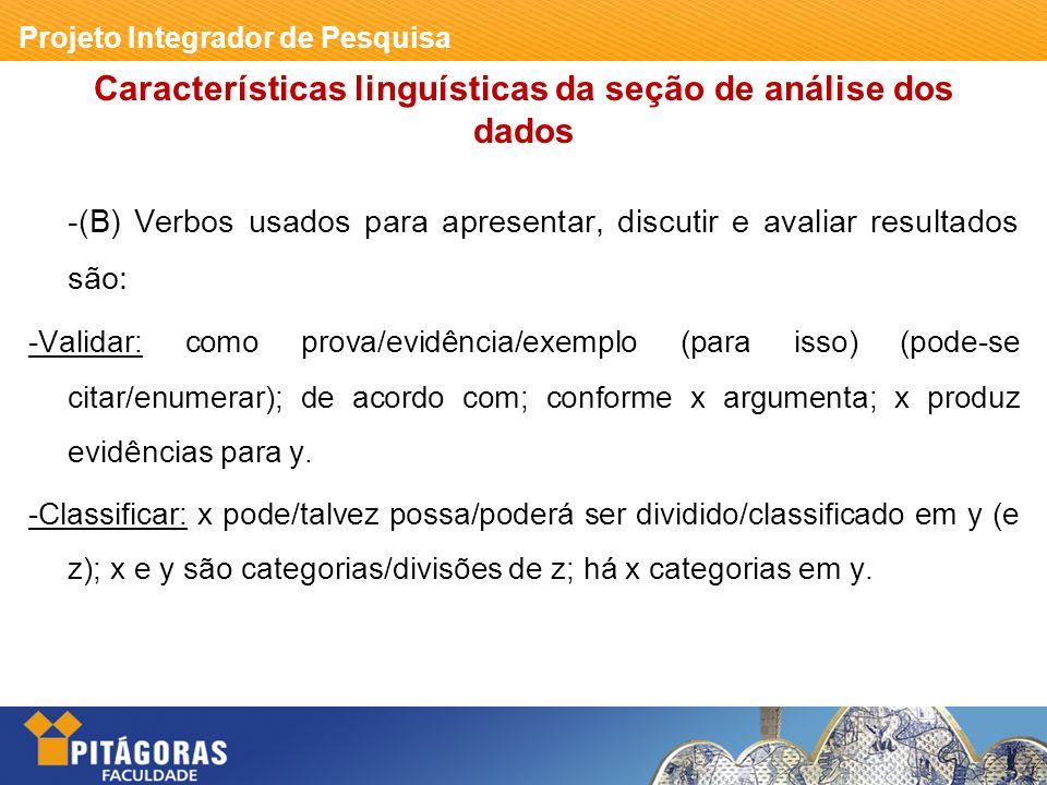 Características linguísticas da seção de análise dos dados