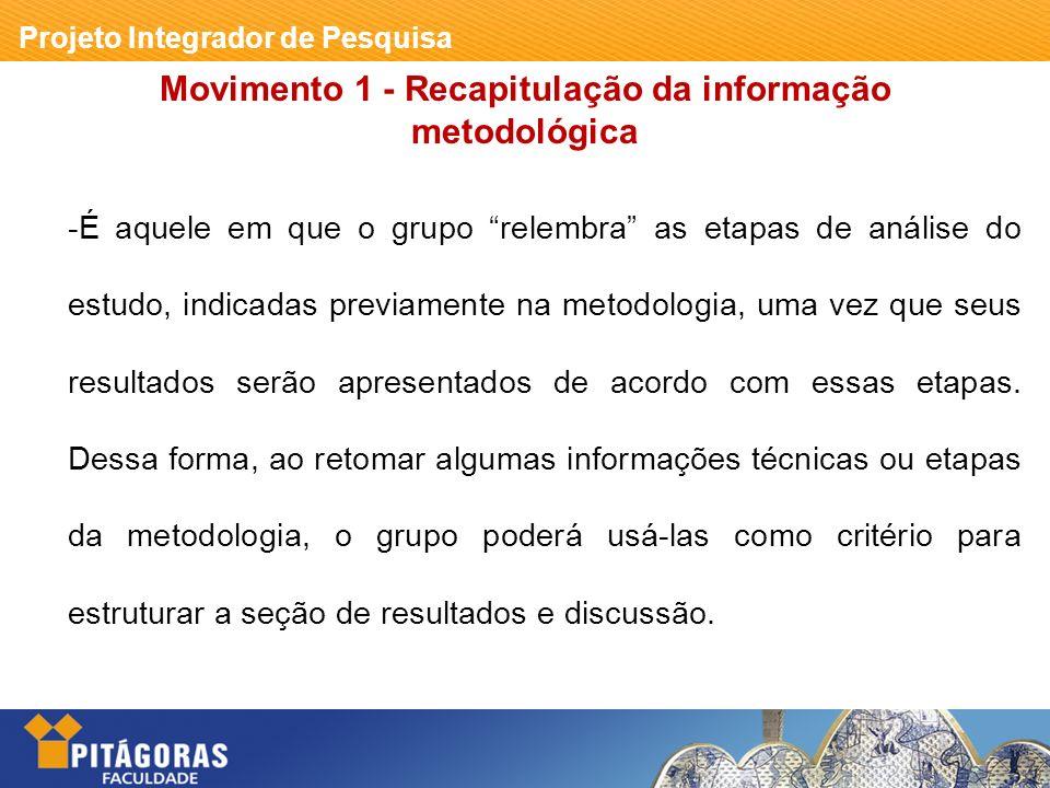 Movimento 1 - Recapitulação da informação metodológica