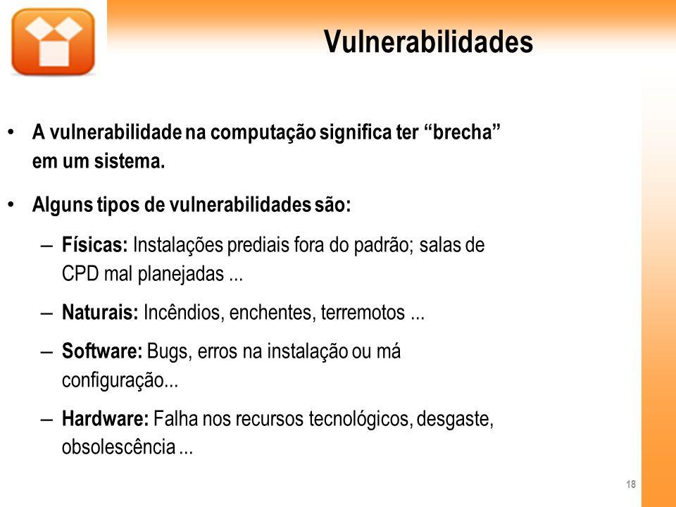 Vulnerabilidades A vulnerabilidade na computação significa ter brecha em um sistema. Alguns tipos de vulnerabilidades são: