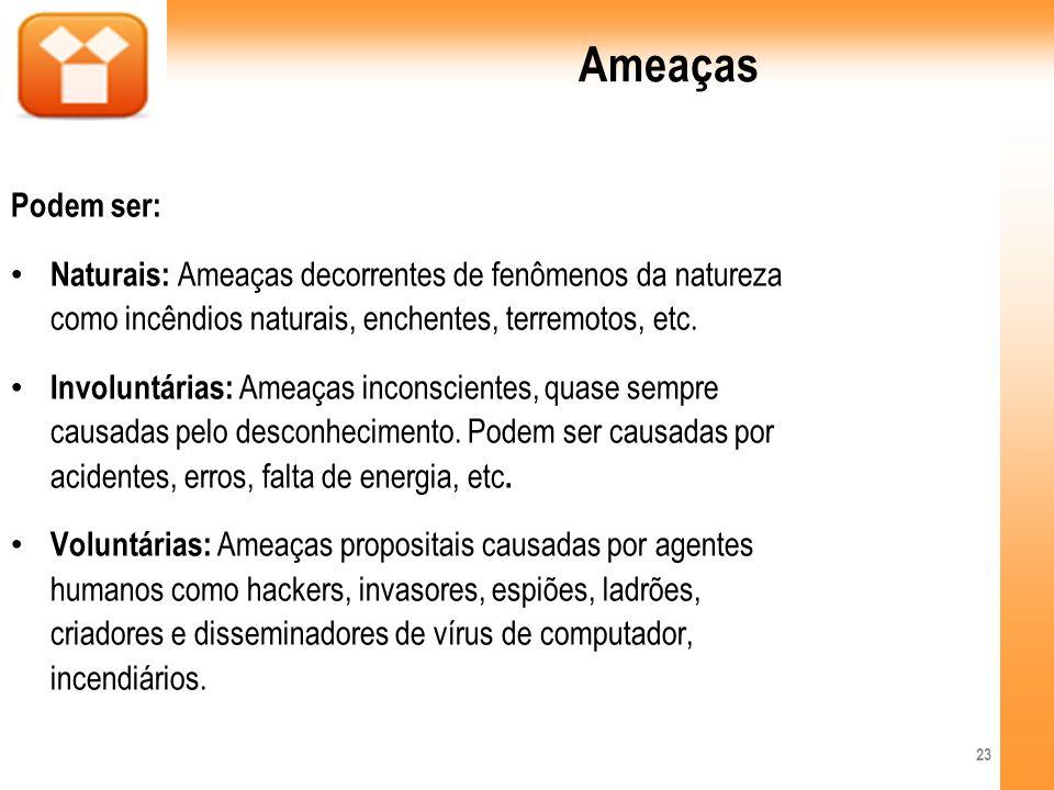 Ameaças Podem ser: Naturais: Ameaças decorrentes de fenômenos da natureza como incêndios naturais, enchentes, terremotos, etc.