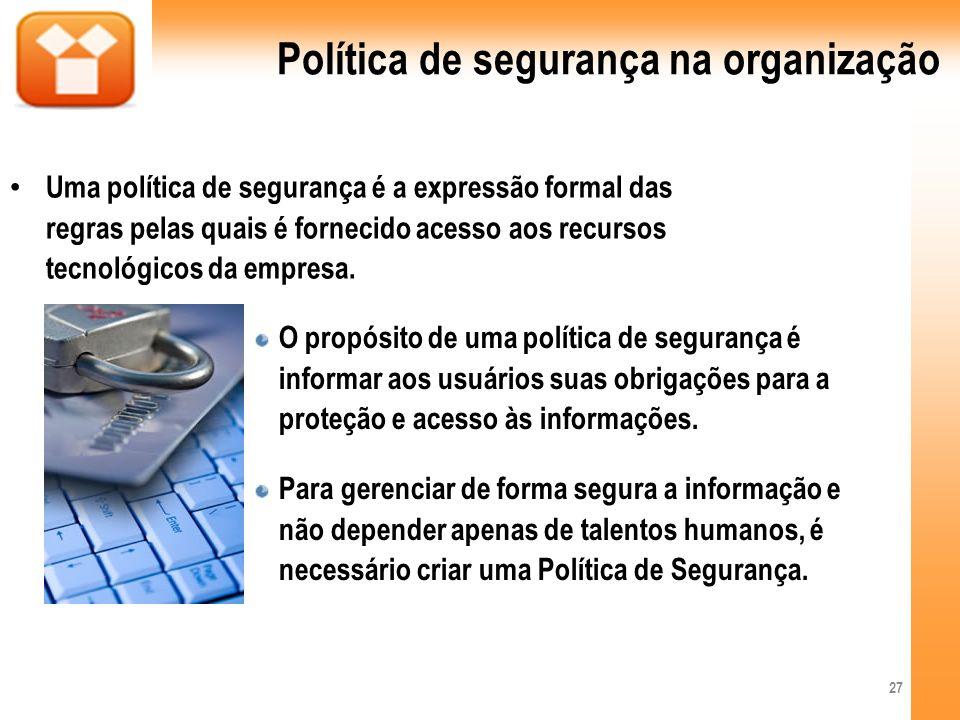 Política de segurança na organização