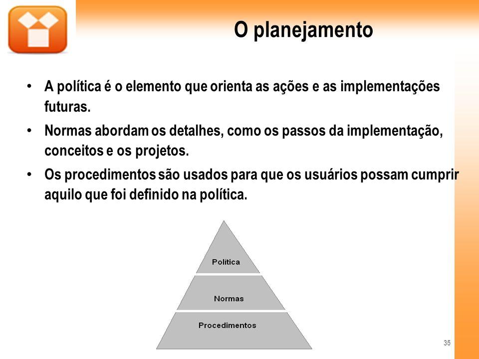 O planejamento A política é o elemento que orienta as ações e as implementações futuras.