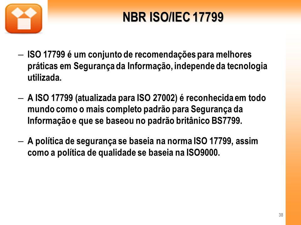 NBR ISO/IEC 17799 ISO 17799 é um conjunto de recomendações para melhores práticas em Segurança da Informação, independe da tecnologia utilizada.
