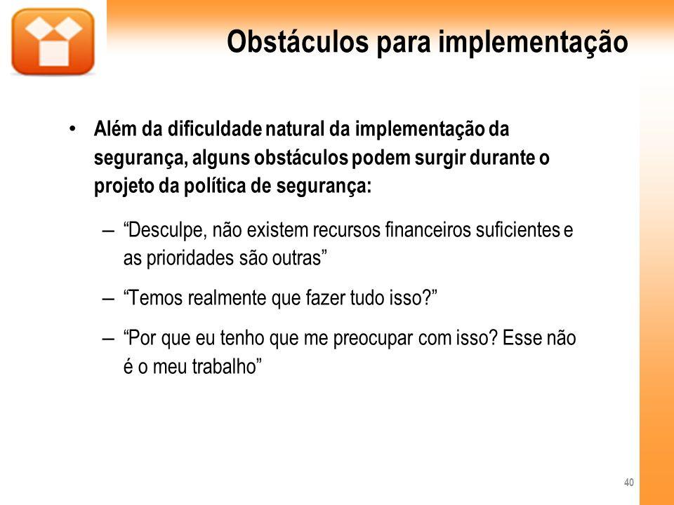 Obstáculos para implementação