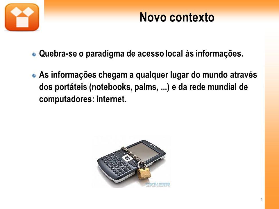 Novo contexto Quebra-se o paradigma de acesso local às informações.
