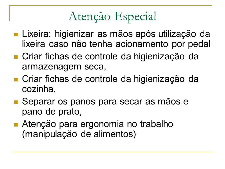 Atenção Especial Lixeira: higienizar as mãos após utilização da lixeira caso não tenha acionamento por pedal.