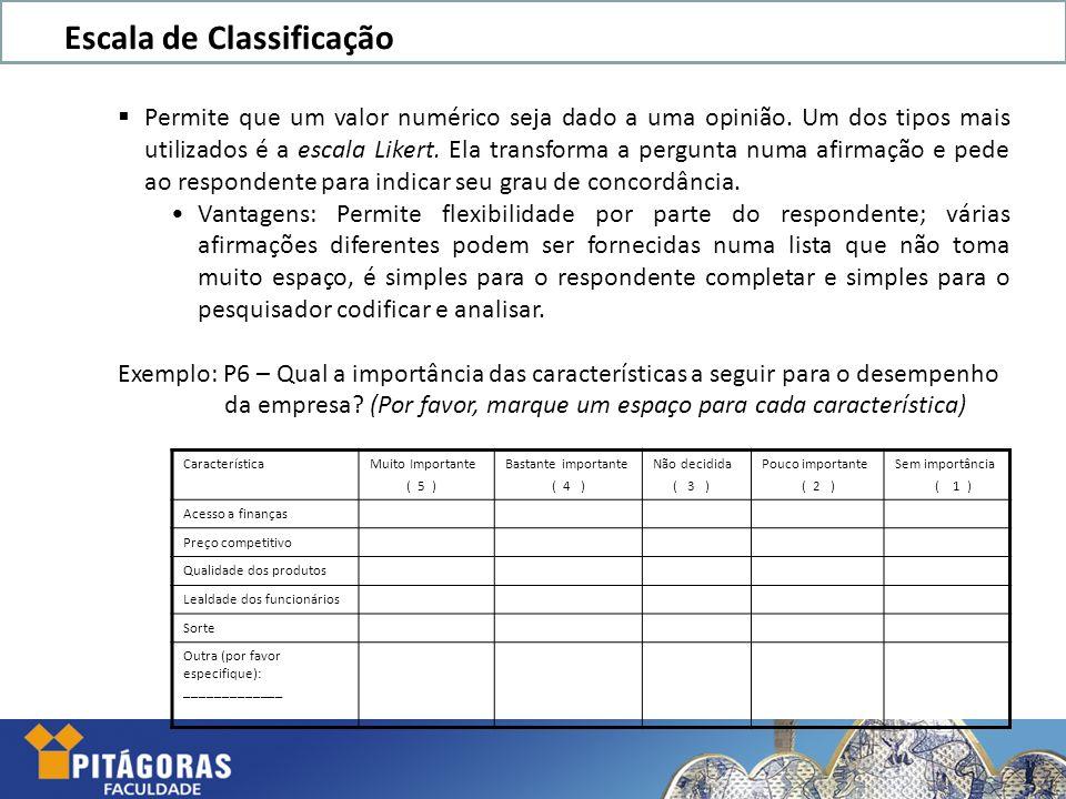 Escala de Classificação