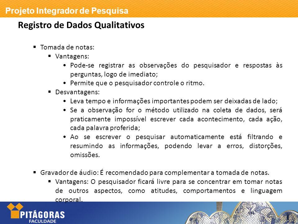 Registro de Dados Qualitativos