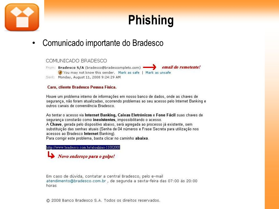 Phishing Comunicado importante do Bradesco 21