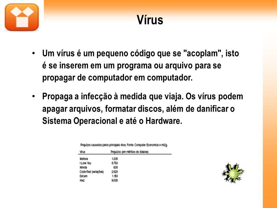 Vírus Um vírus é um pequeno código que se acoplam , isto é se inserem em um programa ou arquivo para se propagar de computador em computador.
