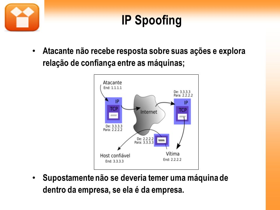 IP SpoofingAtacante não recebe resposta sobre suas ações e explora relação de confiança entre as máquinas;