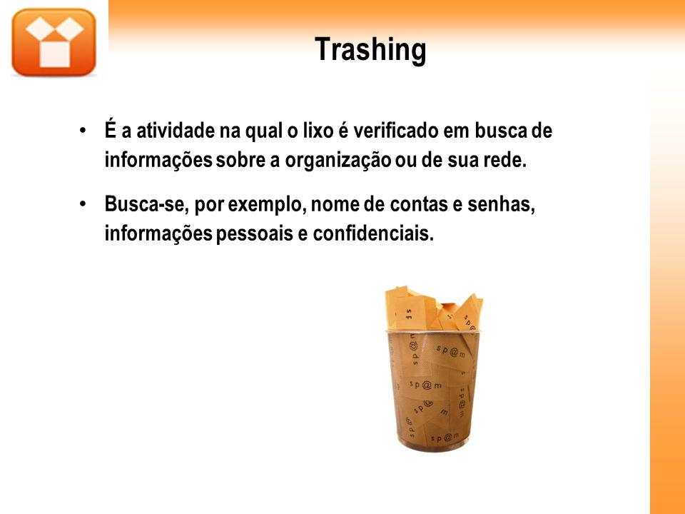 Trashing É a atividade na qual o lixo é verificado em busca de informações sobre a organização ou de sua rede.