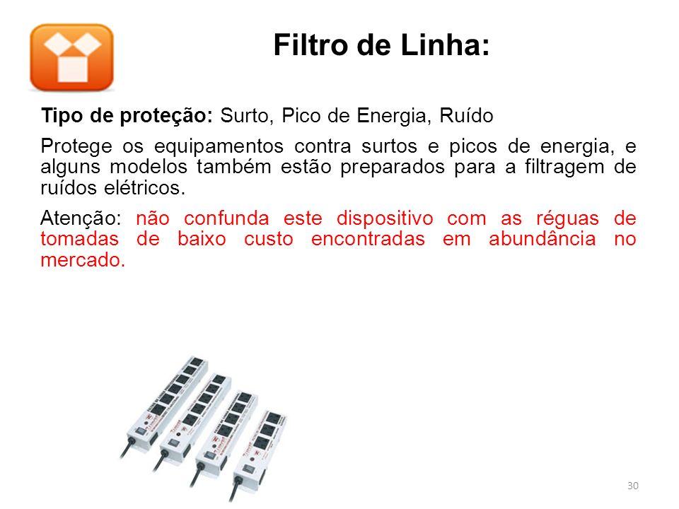 Filtro de Linha: Tipo de proteção: Surto, Pico de Energia, Ruído