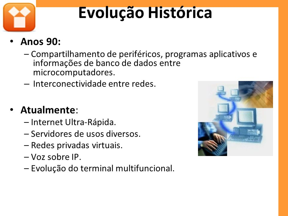 Evolução Histórica Anos 90: Atualmente: