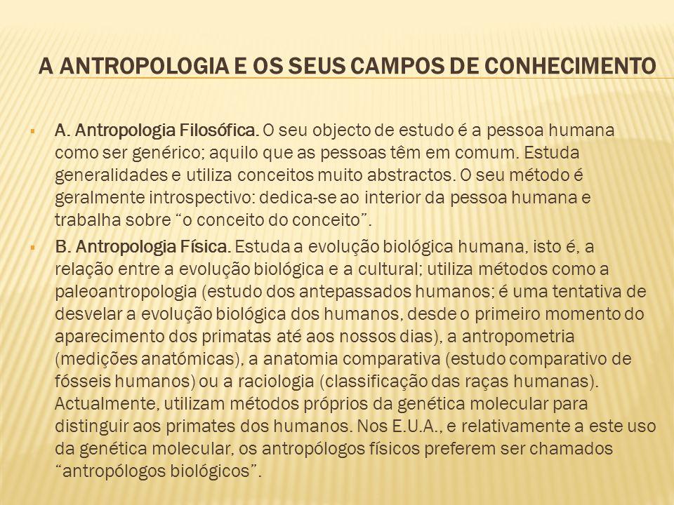 A ANTROPOLOGIA E OS SEUS CAMPOS DE CONHECIMENTO