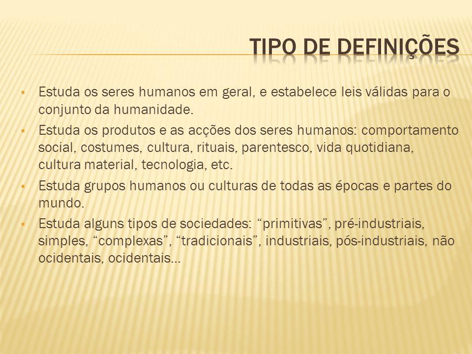 Tipo de definições Estuda os seres humanos em geral, e estabelece leis válidas para o conjunto da humanidade.
