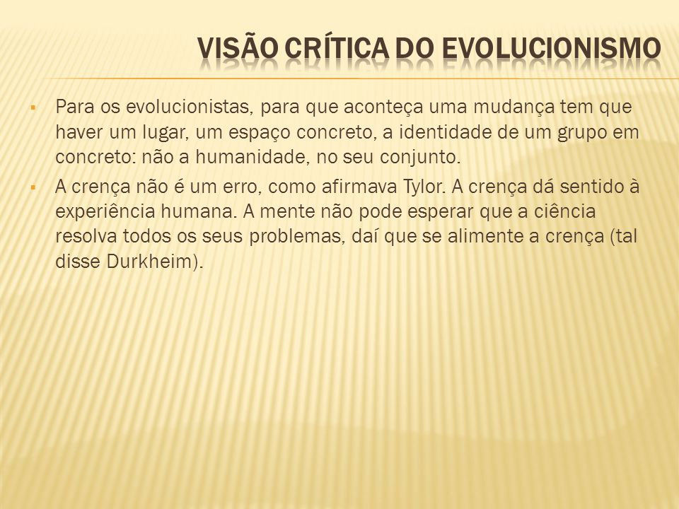 Visão crítica do evolucionismo
