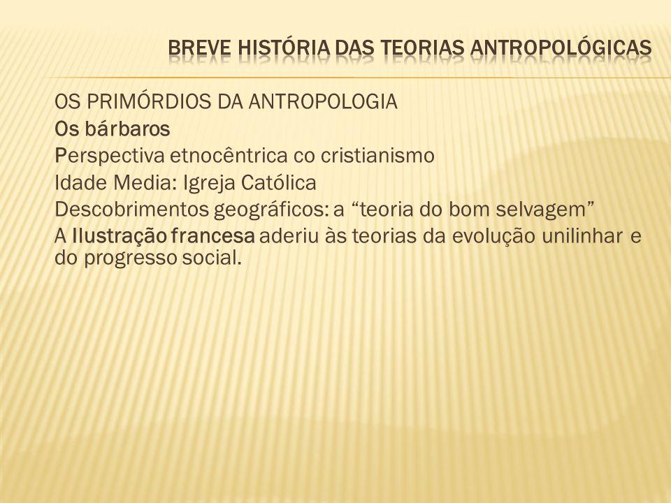 BREVE HISTÓRIA DAS TEORIAS ANTROPOLÓGICAS