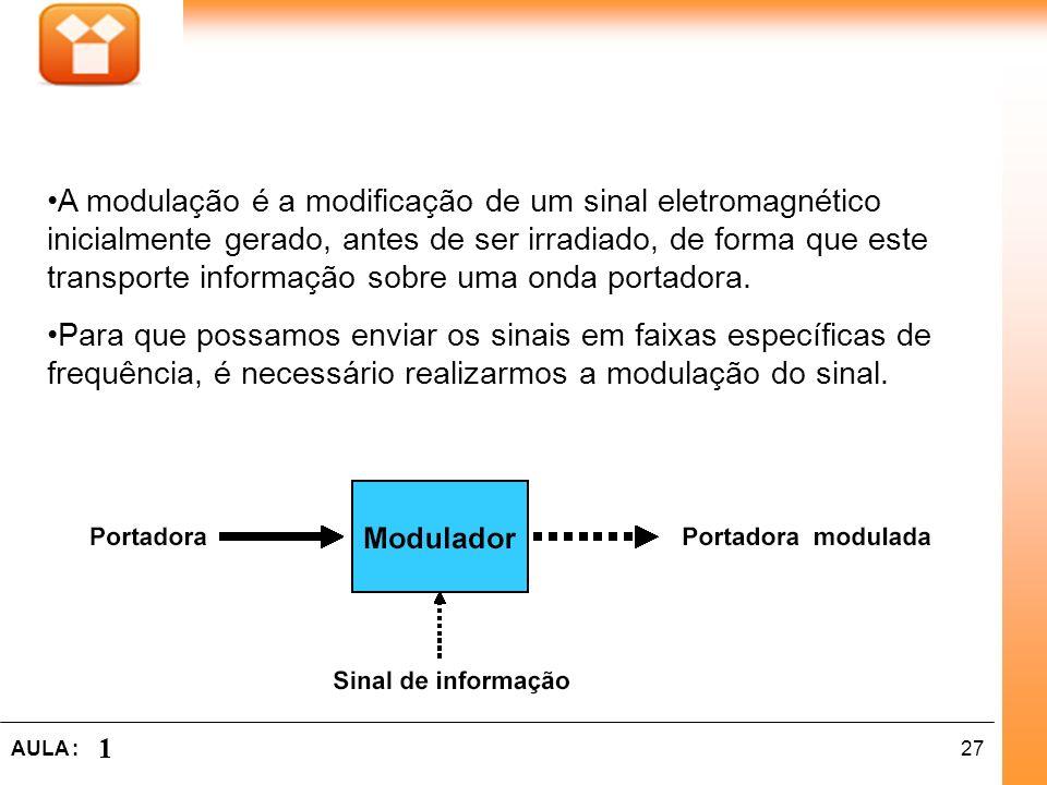 A modulação é a modificação de um sinal eletromagnético inicialmente gerado, antes de ser irradiado, de forma que este transporte informação sobre uma onda portadora.