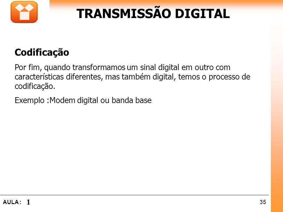 TRANSMISSÃO DIGITAL Codificação