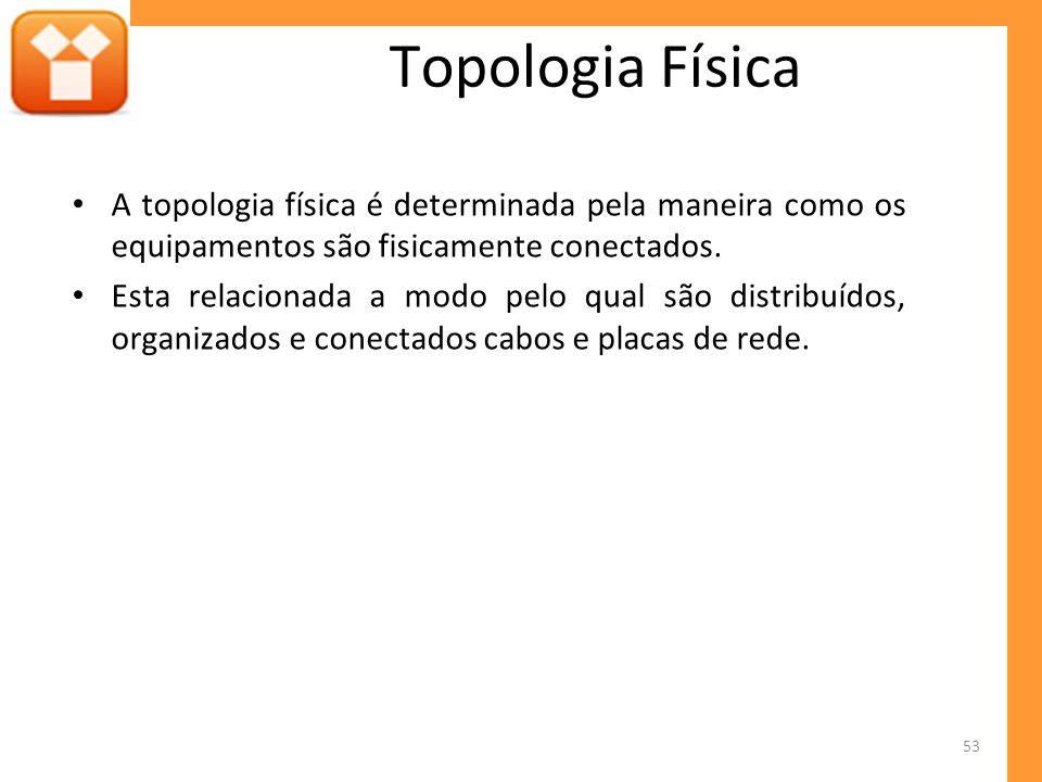 Topologia Física A topologia física é determinada pela maneira como os equipamentos são fisicamente conectados.