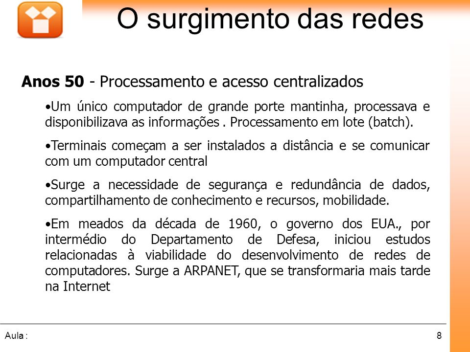 O surgimento das redes Anos 50 - Processamento e acesso centralizados