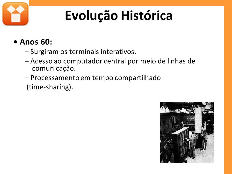 Evolução Histórica • Anos 60: – Surgiram os terminais interativos.