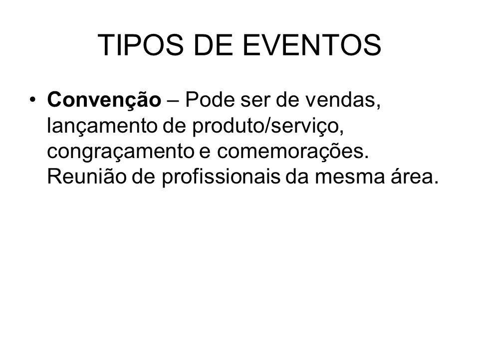 TIPOS DE EVENTOSConvenção – Pode ser de vendas, lançamento de produto/serviço, congraçamento e comemorações.