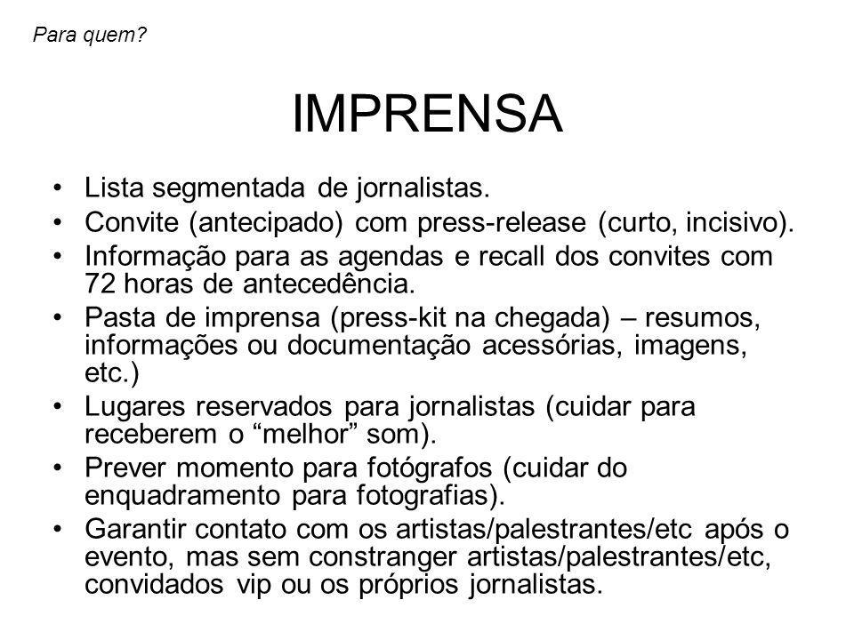 IMPRENSA Lista segmentada de jornalistas.