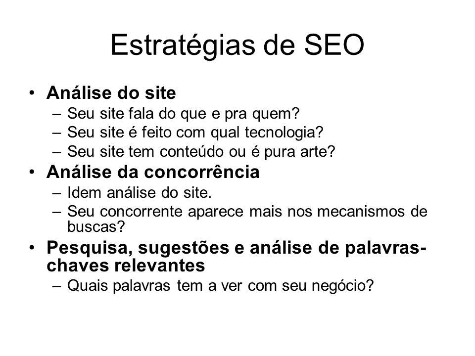 Estratégias de SEO Análise do site Análise da concorrência