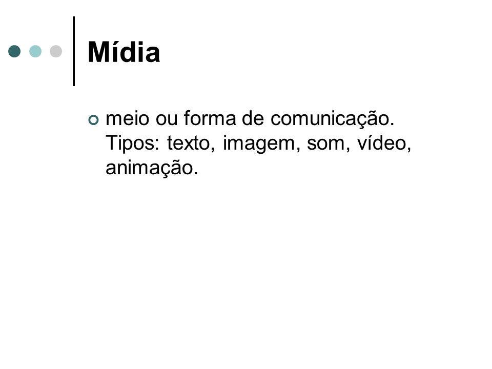 Mídia meio ou forma de comunicação. Tipos: texto, imagem, som, vídeo, animação.