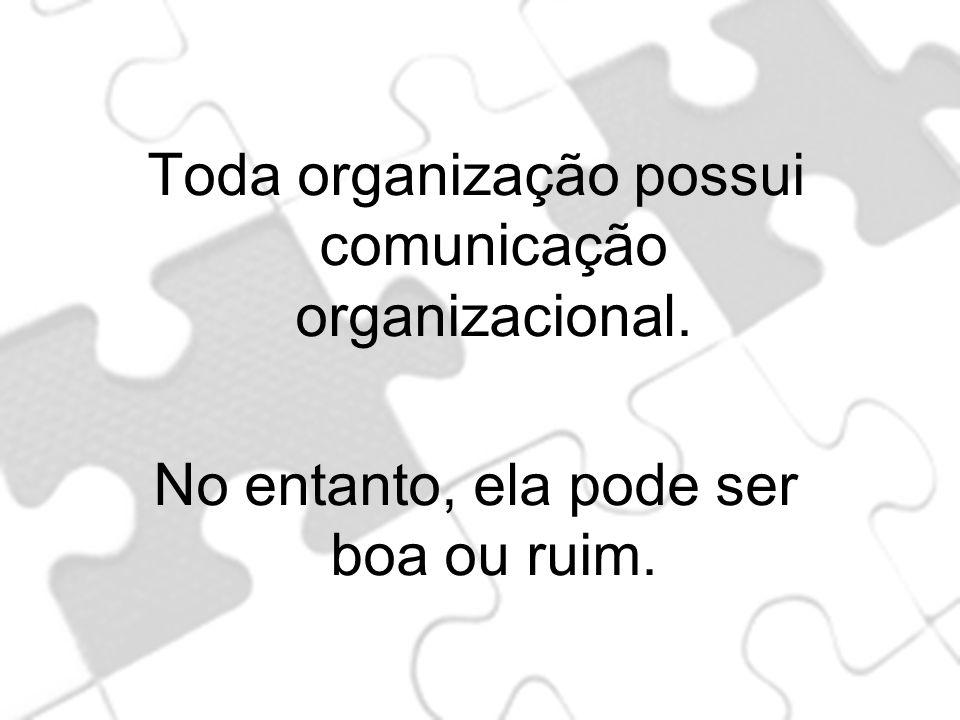Toda organização possui comunicação organizacional.