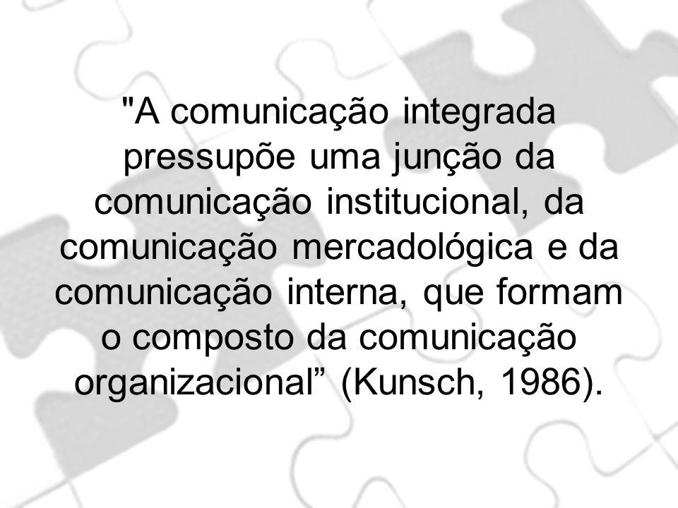A comunicação integrada pressupõe uma junção da comunicação institucional, da comunicação mercadológica e da comunicação interna, que formam o composto da comunicação organizacional (Kunsch, 1986).