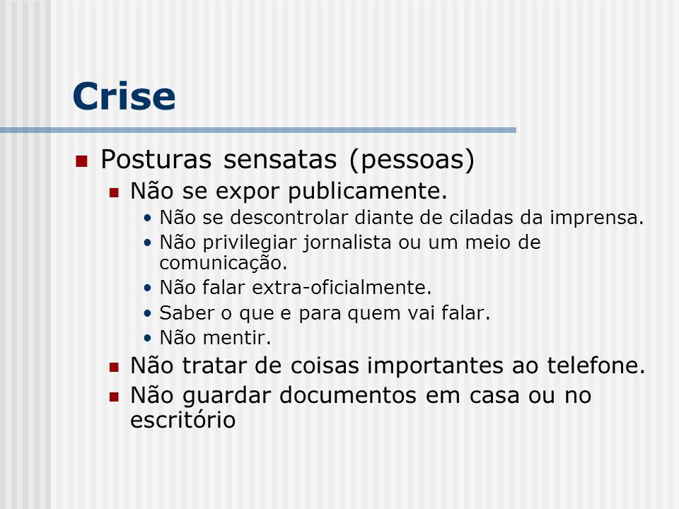 Crise Posturas sensatas (pessoas) Não se expor publicamente.