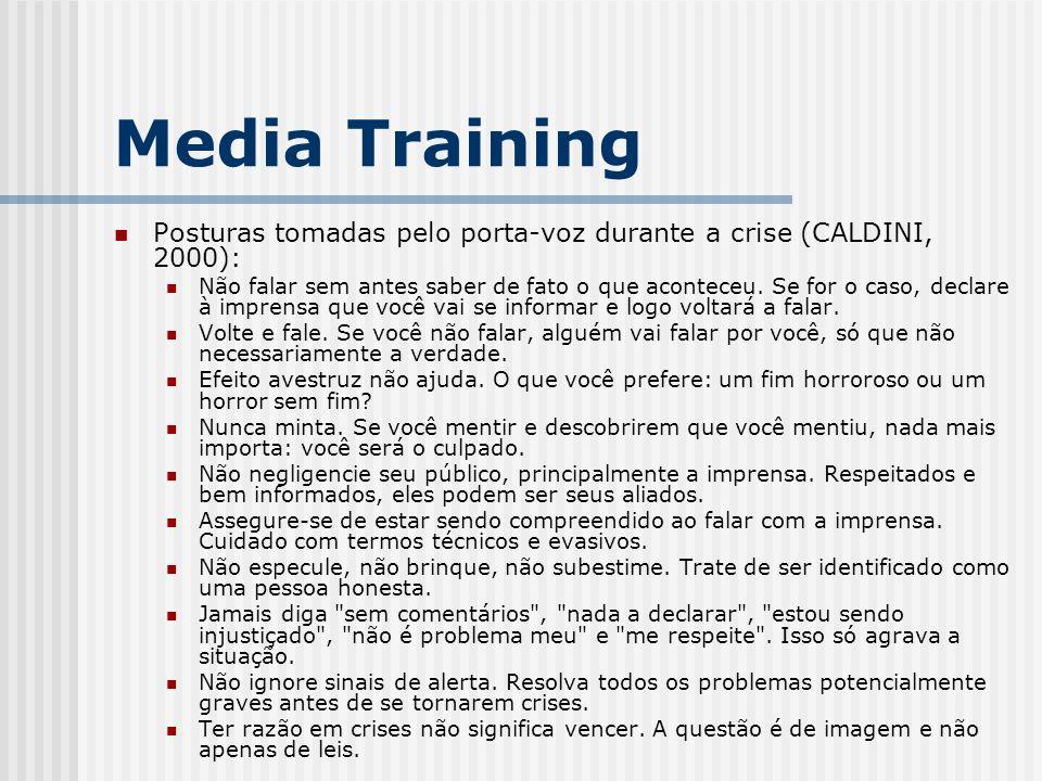 Media Training Posturas tomadas pelo porta-voz durante a crise (CALDINI, 2000):
