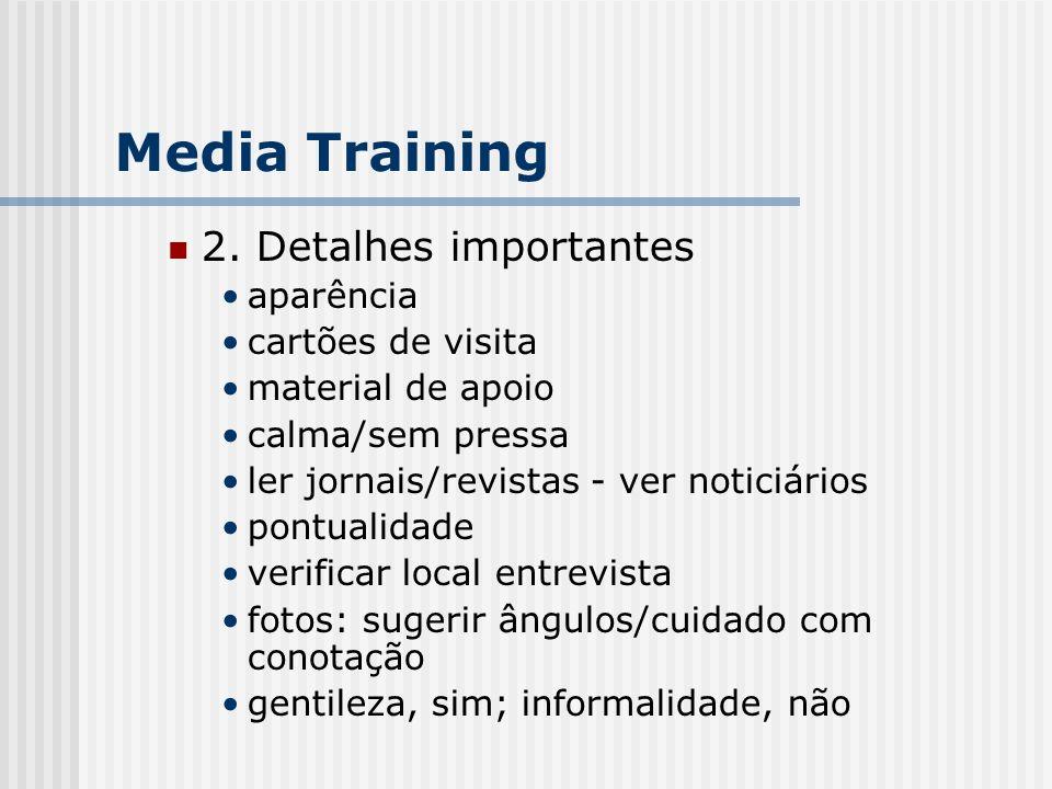 Media Training 2. Detalhes importantes aparência cartões de visita