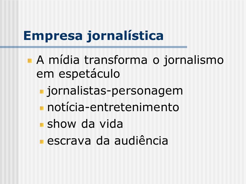 Empresa jornalística A mídia transforma o jornalismo em espetáculo