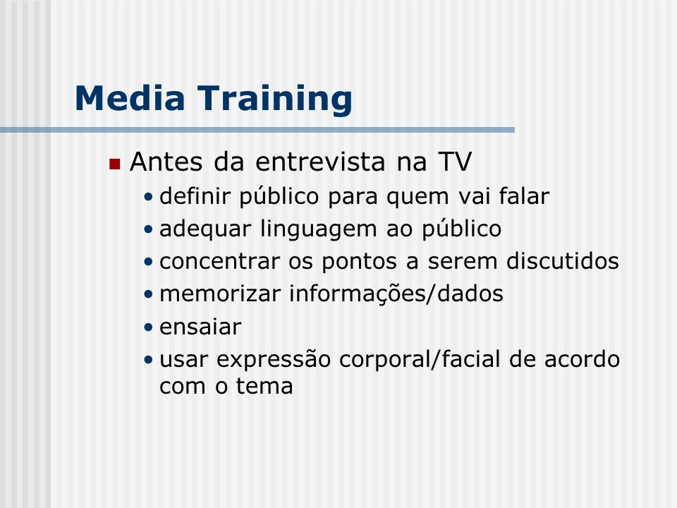 Media Training Antes da entrevista na TV